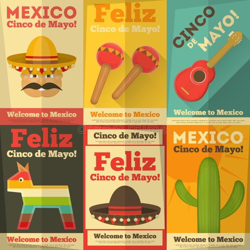 Mexican Posters. In Retro Style. Cinco de Mayo. Illustration