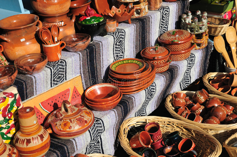 Mexican pottery stall stock photo