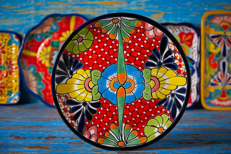 Mexican pottery Talavera style of Mexico. Mexican pottery plate Talavera style of Puebla in Mexico stock photography