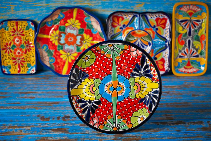 Mexican pottery Talavera style of Mexico. Mexican pottery plate Talavera style of Puebla in Mexico stock image
