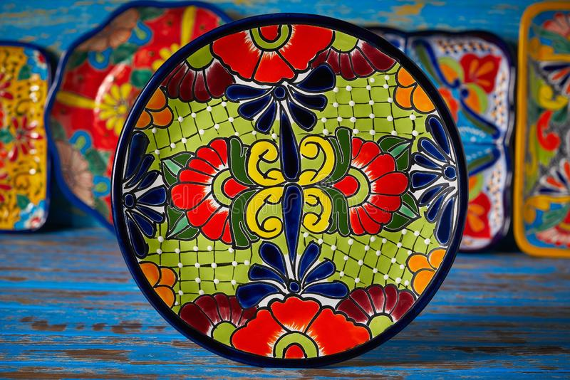 Mexican pottery Talavera style of Mexico. Mexican pottery plate Talavera style of Puebla in Mexico royalty free stock image