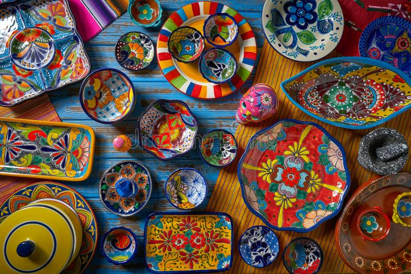 Mexican pottery Talavera style of Mexico. Mexican pottery Talavera style of Puebla in Mexico stock photography