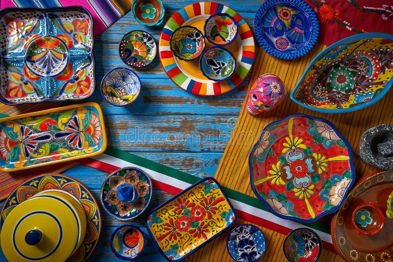 Mexican pottery Talavera style of Mexico. Mexican pottery Talavera style of Puebla in Mexico royalty free stock image
