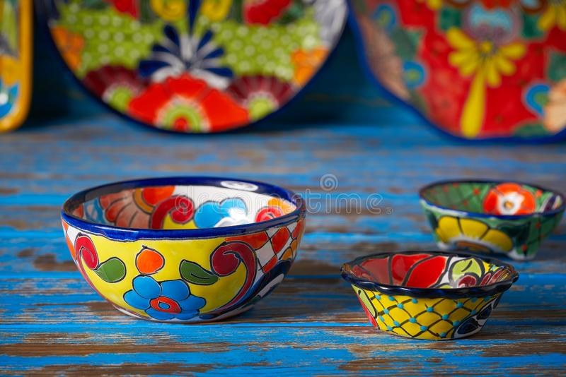 Mexican pottery Talavera style of Mexico. Mexican pottery Talavera style of Puebla in Mexico stock images
