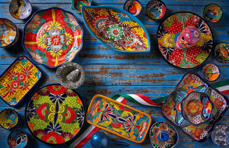 Mexican pottery Talavera style of Mexico. Mexican pottery Talavera style of Puebla in Mexico royalty free stock photography