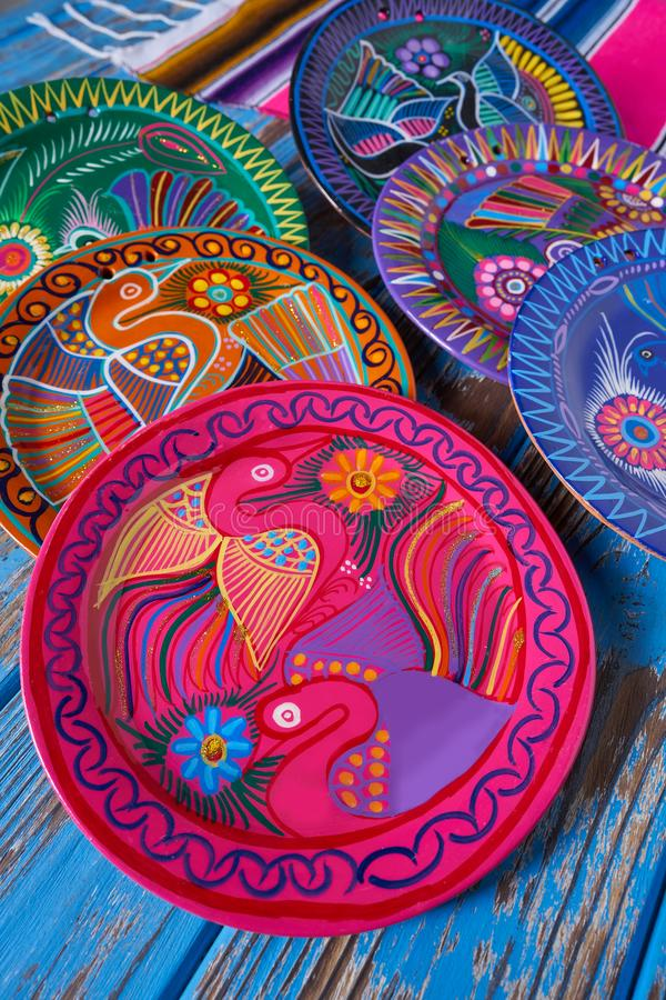 Mexican pottery Talavera style of Mexico. Mexican pottery traditional crafts in Mexico stock image