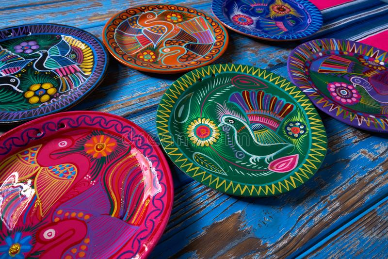 Mexican pottery Talavera style of Mexico. Mexican pottery traditional crafts in Mexico royalty free stock photography