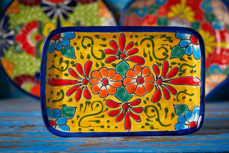 Mexican pottery Talavera style of Mexico. Mexican pottery Talavera style tray of Puebla in Mexico stock image