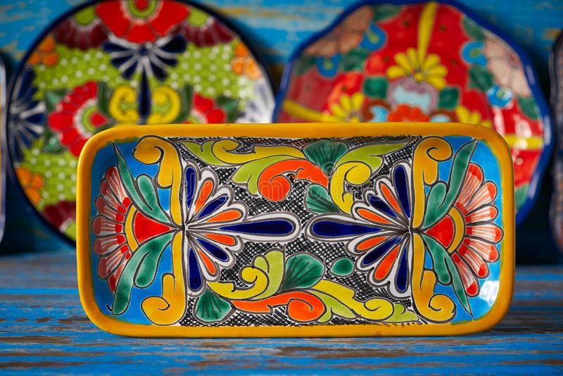 Mexican pottery Talavera style of Mexico. Mexican pottery Talavera style tray of Puebla in Mexico stock photography