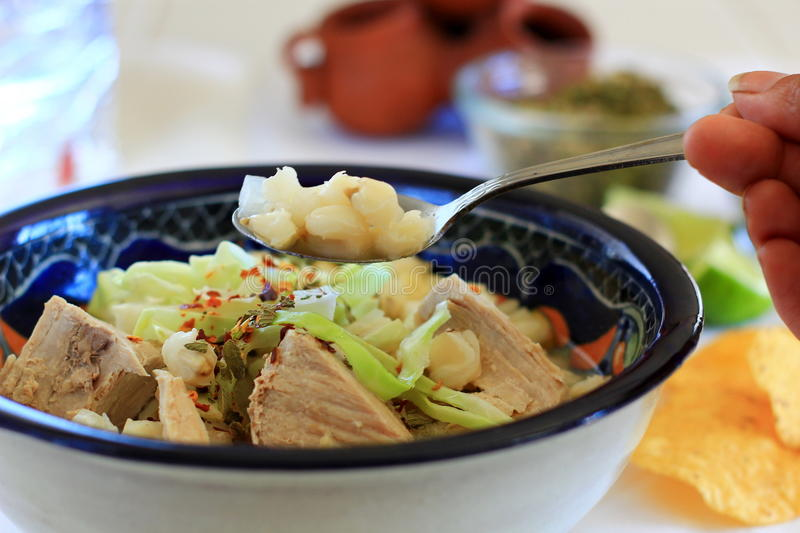 Mexican Pozole Pork and Hominy soup royalty free stock image