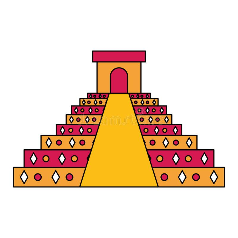 Mexican pyramid traditional emblem icon stock illustration