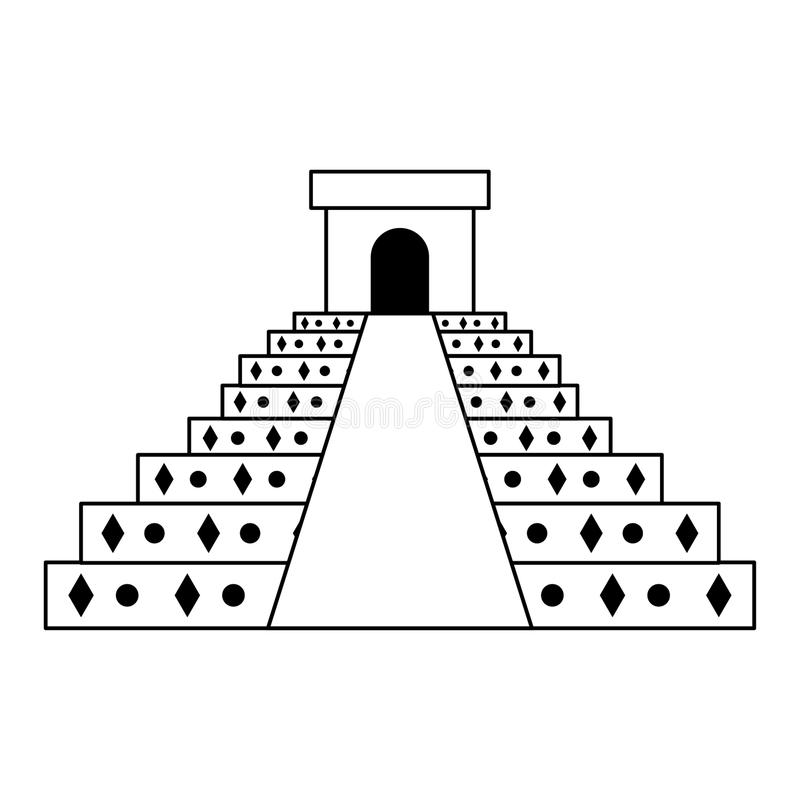 Mexican pyramid traditional emblem icon in black and white stock illustration