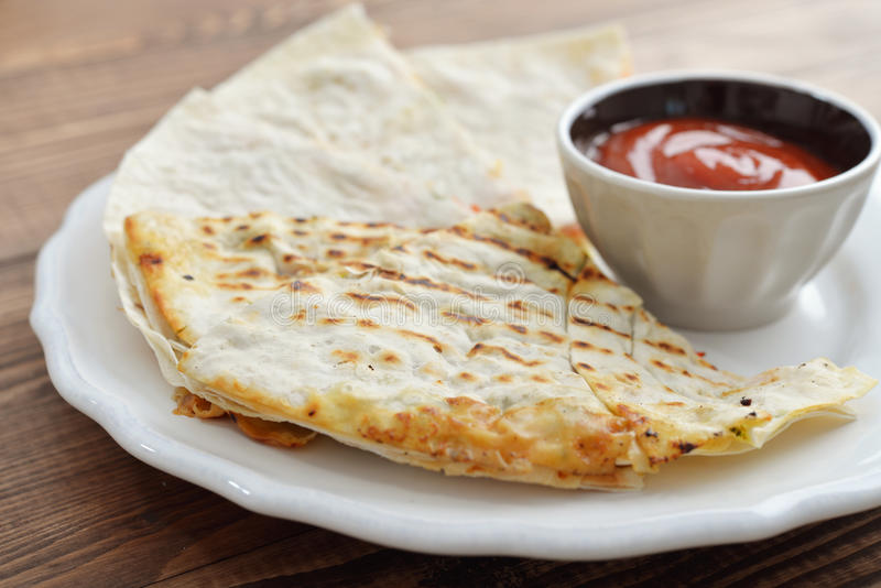 Mexican Quesadilla with chicken stock images