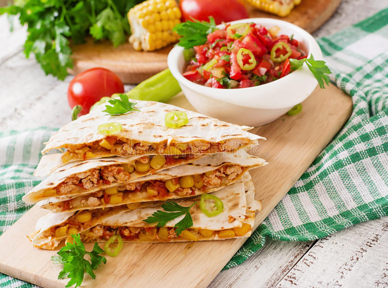 Mexican Quesadilla wrap with chicken stock image