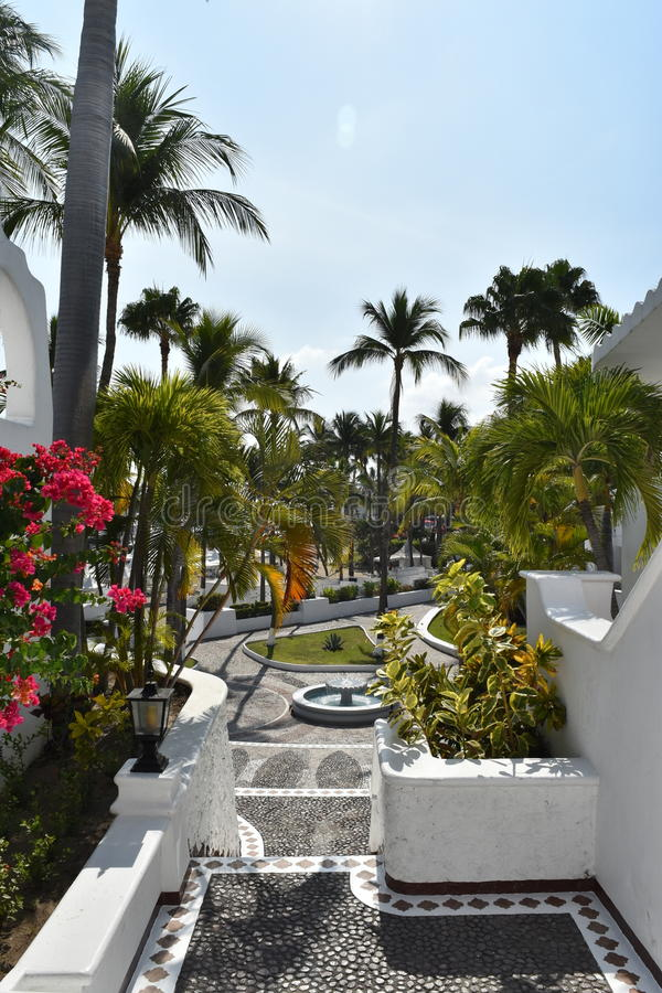 Mexican Resort. Moorish style architecture and cobblestone streets with plazas and fountains is a hallmark of Las Hadas Resort in Manzanillo, Colima, Mexico royalty free stock images