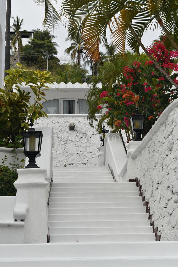 Mexican Resort. Moorish style architecture and cobblestone streets with plazas and fountains is a hallmark of Las Hadas Resort in Manzanillo, Colima, Mexico stock photos
