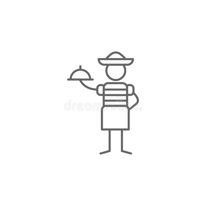 Mexican restaurant, waitress icon. Element of restaurant icon. Thin line icon for website design and development, app development stock illustration