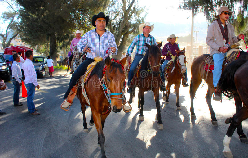 Mexican riders in local event stock images
