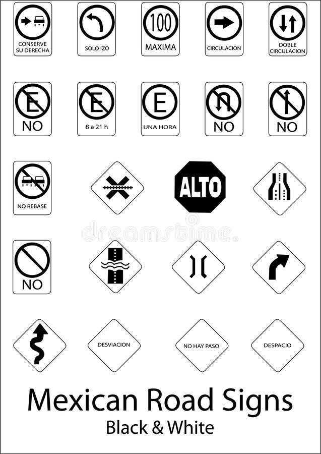 Mexican Road Signs stock image