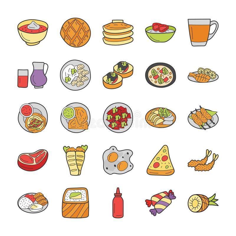Mexican and Russian Food Cuisines Pack royalty free illustration