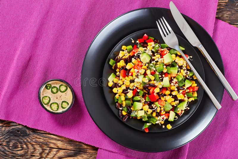 Mexican salad with avocado, black beans stock image