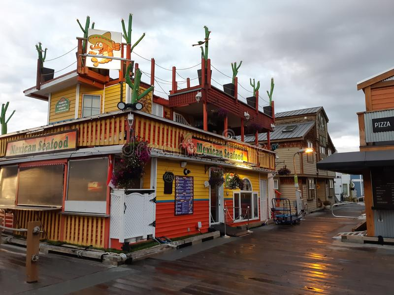Mexican seafood restaurant at Victoria Fisherman`s Wharf royalty free stock photo