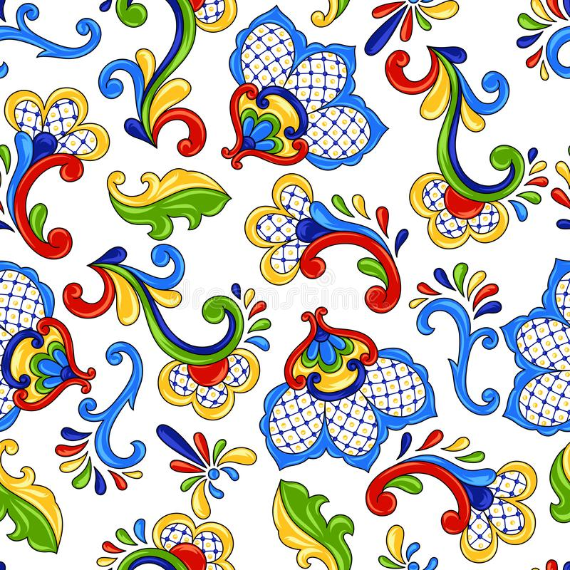 Mexican seamless pattern flowers. royalty free illustration