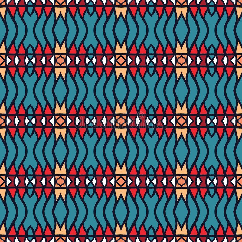 Mexican seamless pattern horizontal chevron stripe lines background. Ethnic boho allover print. Vector tribal textile swatch. Mexican seamless pattern horizontal royalty free illustration