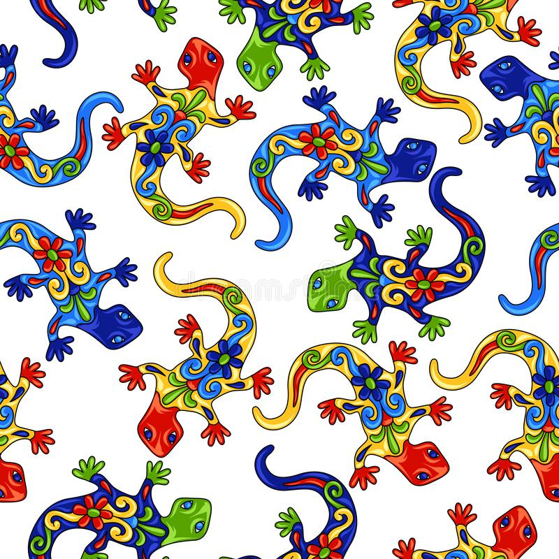 Mexican seamless pattern with lizards. stock illustration