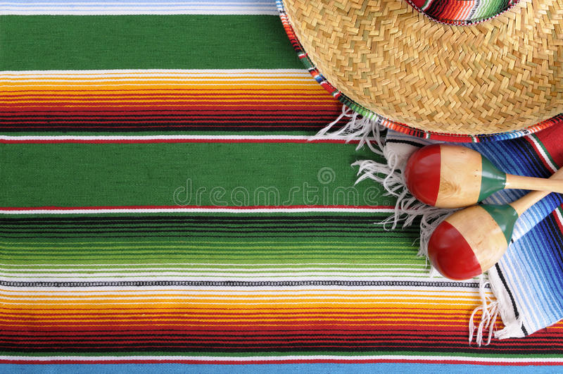 Mexico Mexican Sombrero Blanket Background Copy Space