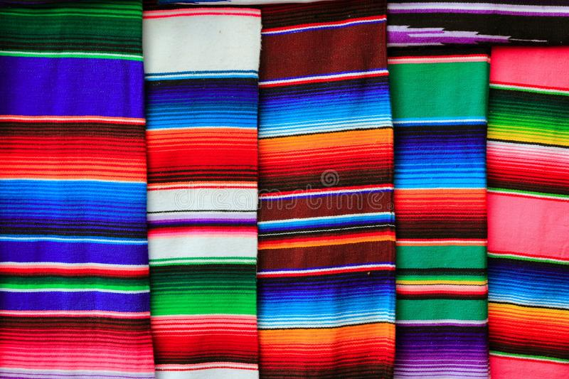 Mexican serape fabric colorful pattern texture. Background stock photography