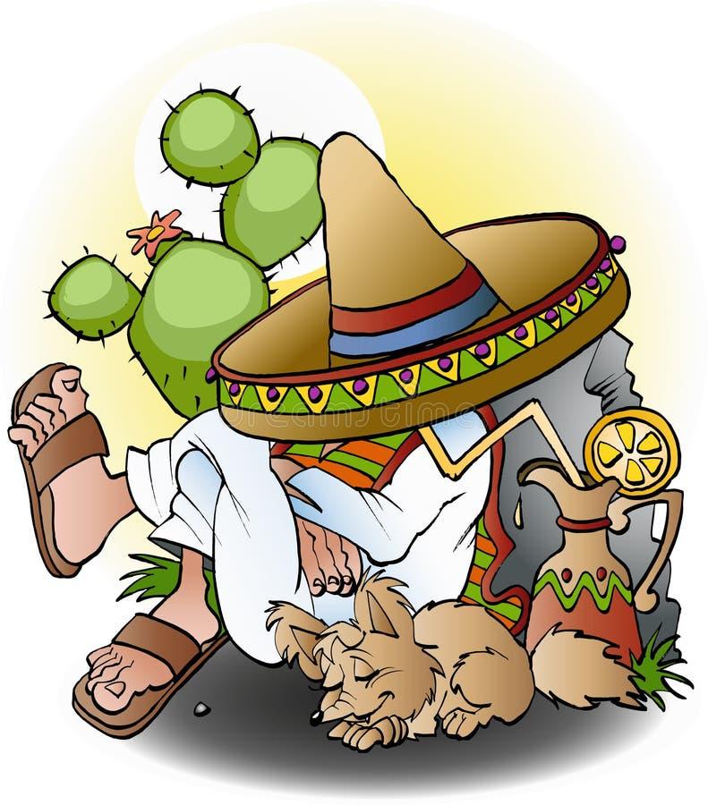 Mexican siesta cartoon stock illustration