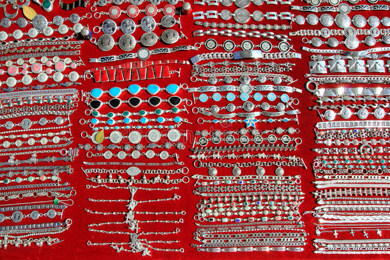 Mexican silver jewellery rows Mexico handcrafts stock images