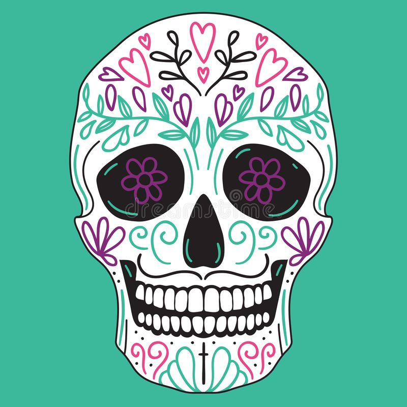 Mexican simple sugar skull vector illustration
