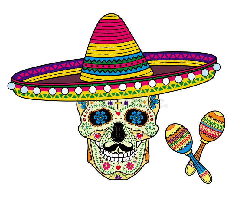Mexican skull Calavera for Day of the Dead. Vector image Mexican skull Calavera in sombrero for Day of the Dead and maracas stock illustration