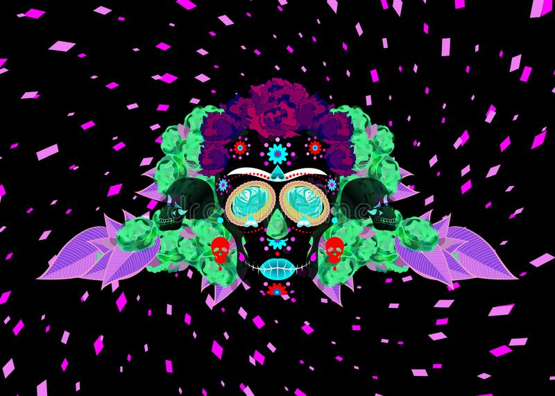 Mexican skull, Calavera with flowers. Decoration for Day of the Dead, Dia de los Muertos celebration. Halloween poster background,. Greeting card or t-shirt vector illustration