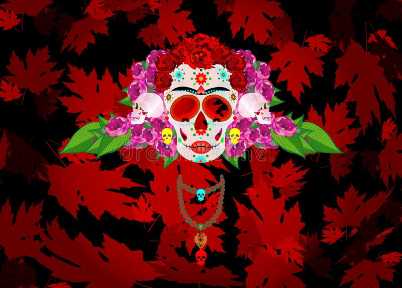 Mexican skull, Calavera with flowers. Decoration for Day of the Dead, Dia de los Muertos. Halloween poster red background. Mexican skull, Calavera with flowers vector illustration