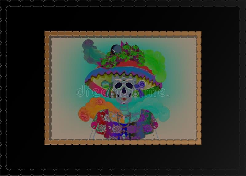 Mexican skull, Calavera with flowers. Decoration for Day of the Dead, Dia de los Muertos. Halloween poster background,. Catrina La Calavera. Catrina is a vector illustration