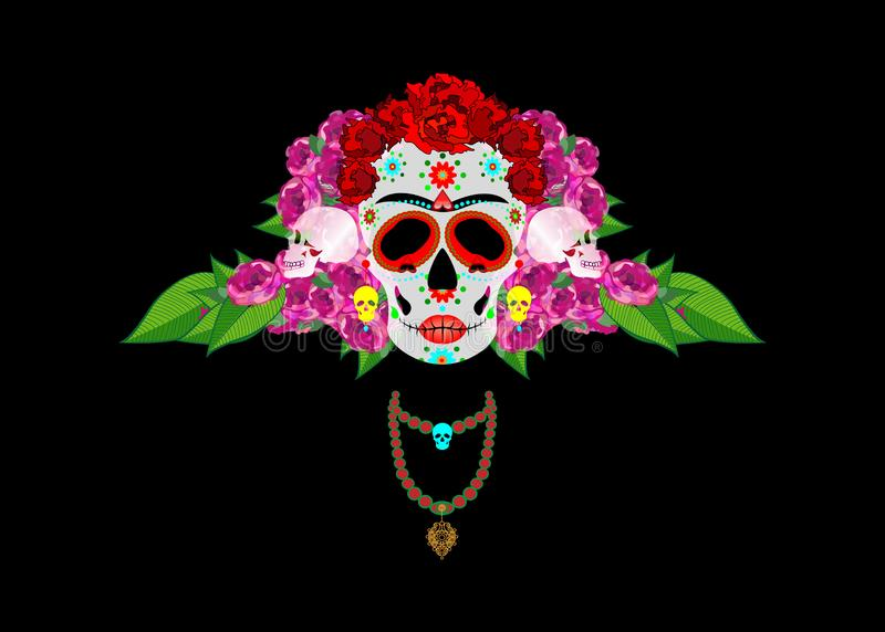 Mexican skull, Calavera with flowers. Decoration for Day of the Dead, Dia de los Muertos. Halloween poster background, isolated. Mexican skull, Calavera with royalty free illustration
