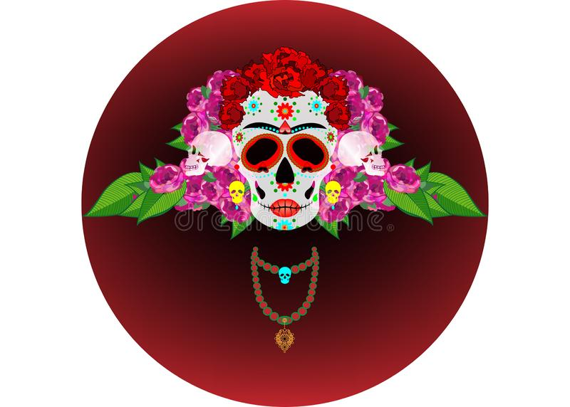 Mexican skull, Calavera with flowers. Decoration for Day of the Dead, Dia de los Muertos. Halloween poster background, isolated. Mexican skull, Calavera with stock illustration