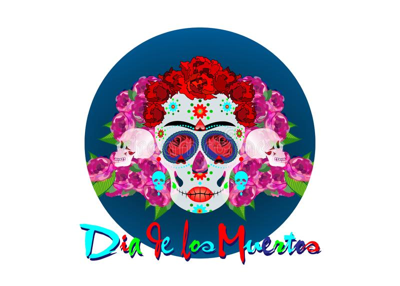 Mexican skull, Calavera with flowers. Decoration for Day of the Dead, Dia de los Muertos. Halloween poster background,. Greeting card or t-shirt design. Vector royalty free illustration
