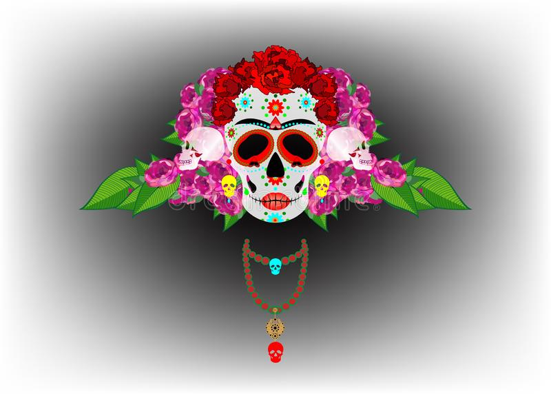 Mexican skull, Calavera with flowers. Decoration for Day of the Dead, Dia de los Muertos. Halloween poster background,. Greeting card or t-shirt design. Vector stock illustration