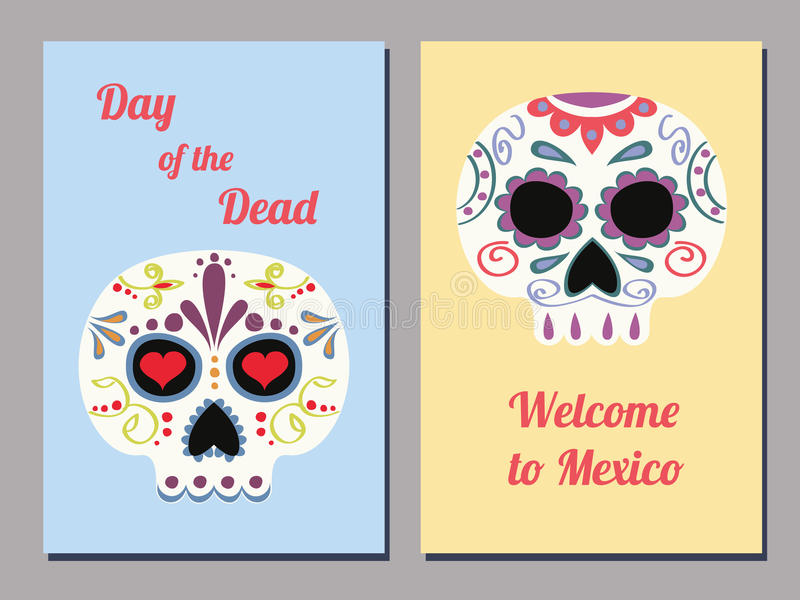 Mexican skull cards royalty free illustration