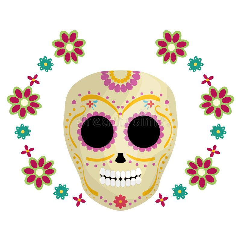 Mexican skull death mask with flowers vector illustration