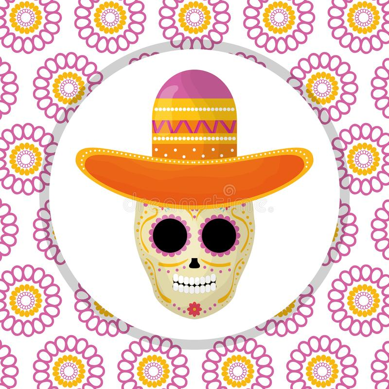 Mexican skull death mask with mariachi hat in floral background. Vector illustration stock illustration