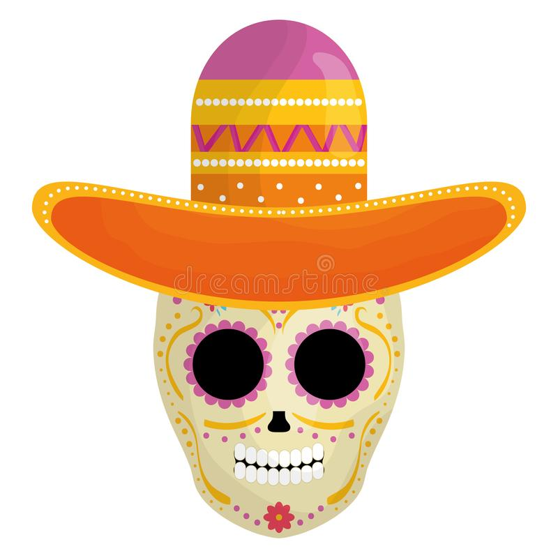 Mexican skull death mask with mariachi hat stock illustration