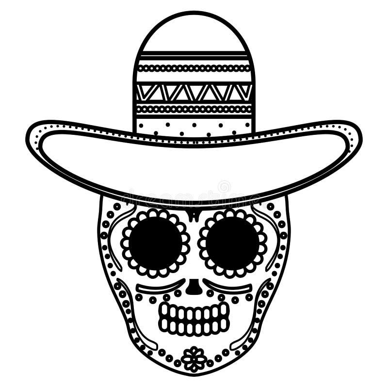 Mexican skull death mask with mariachi hat. Vector illustration design vector illustration