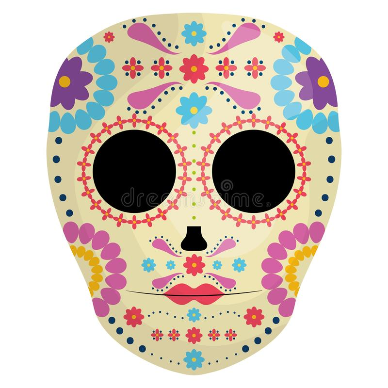 Mexican skull death mask royalty free illustration