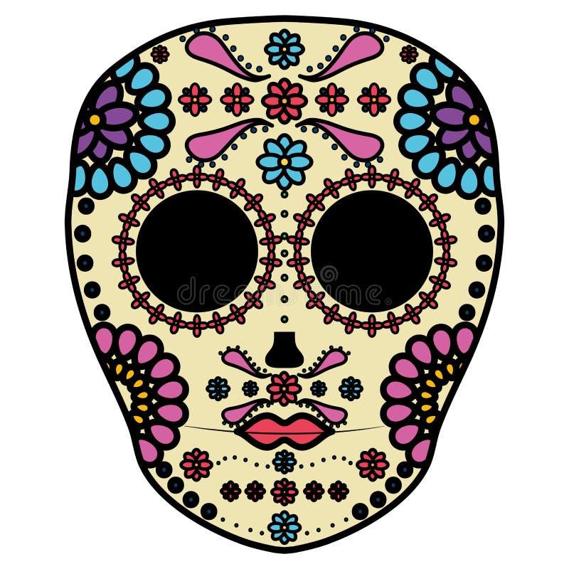 Mexican skull death mask stock illustration