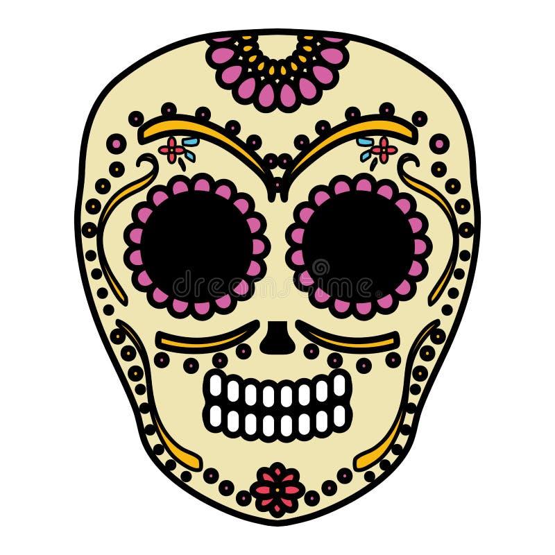 Mexican skull death mask royalty free illustration